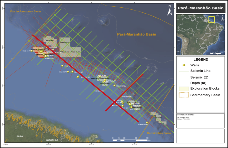 Seismic lines from the 2D Pre-Stack Depth Migration (PSDM) data of the Para-Maranhão Basin, covering an area around 10,000 km2 using 4.804 Km of 2D seismic lines up to the 3,000m isobath.